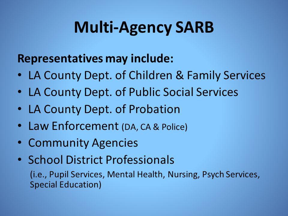 Multi-Agency SARB Representatives may include: LA County Dept. of Children & Family Services LA County Dept. of Public Social Services LA County Dept.