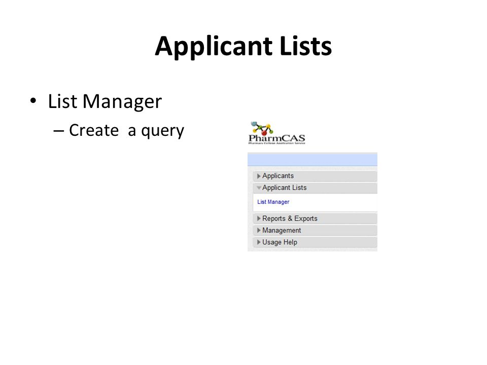 Applicant Lists List Manager – Create a query