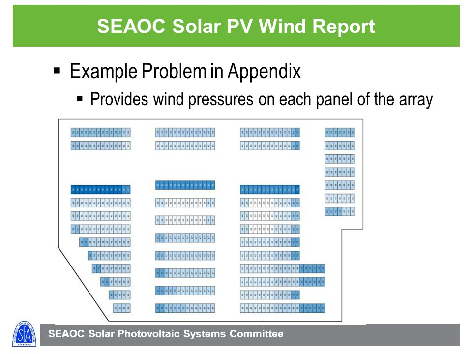 SEAOC Solar Photovoltaic Systems Committee SEAOC Solar PV Wind Report Example Problem in Appendix Provides wind pressures on each panel of the array