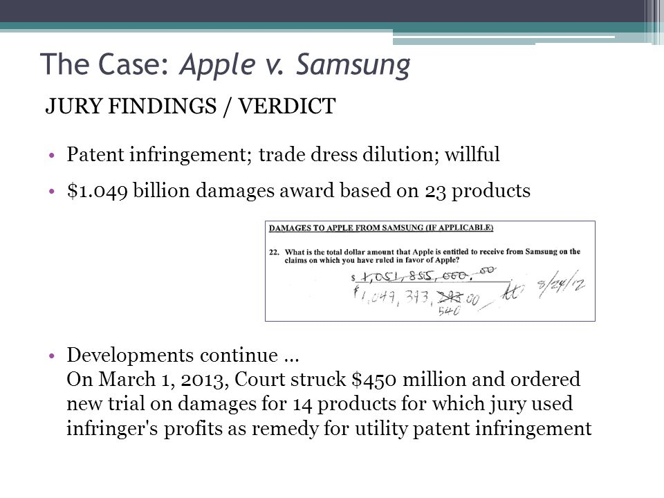 The Case: Apple v. Samsung Patent infringement; trade dress dilution; willful $1.049 billion damages award based on 23 products Developments continue