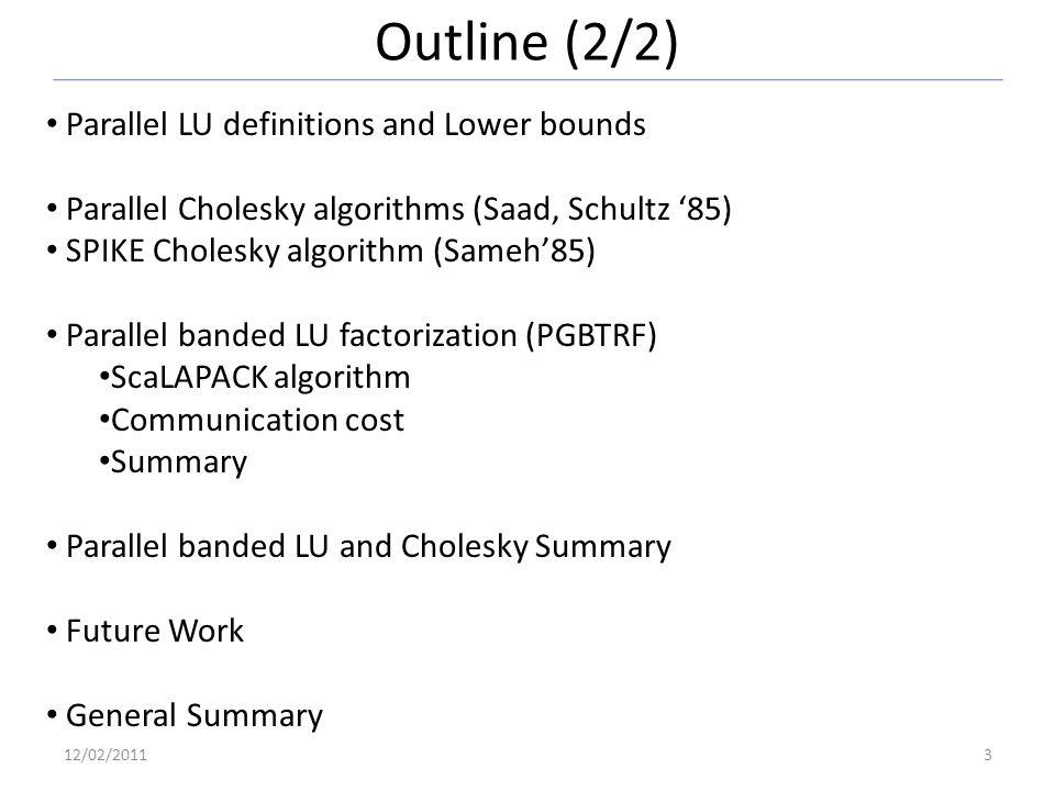 Outline (2/2) Parallel LU definitions and Lower bounds Parallel Cholesky algorithms (Saad, Schultz 85) SPIKE Cholesky algorithm (Sameh85) Parallel ban