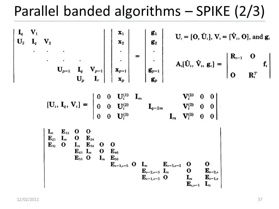 Parallel banded algorithms – SPIKE (2/3) 12/02/201137
