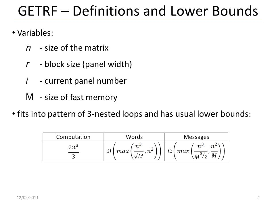 GETRF – Definitions and Lower Bounds Variables: n - size of the matrix r - block size (panel width) i- current panel number M - size of fast memory fits into pattern of 3-nested loops and has usual lower bounds: 12/02/20114