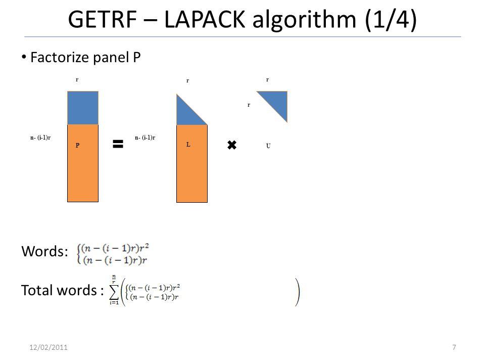 GETRF – LAPACK algorithm (1/4) 12/02/20117 Factorize panel P Words: Total words : n- (i-1)r r r r r P L U n- (i-1)r