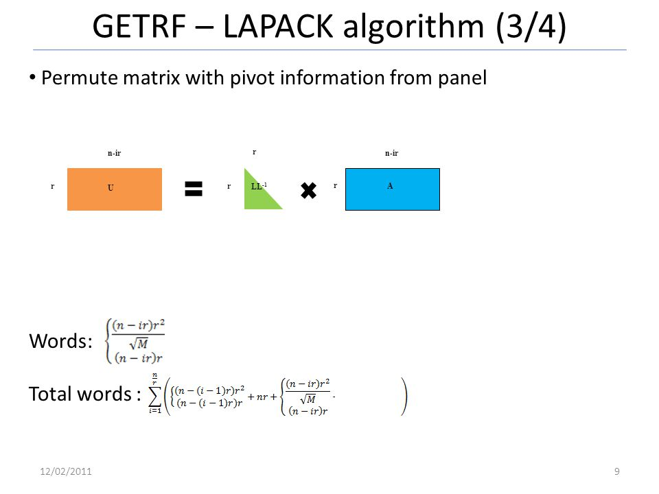GETRF – LAPACK algorithm (3/4) 12/02/20119 Permute matrix with pivot information from panel Words: Total words : r n-ir r r r n-ir U LL -1 A