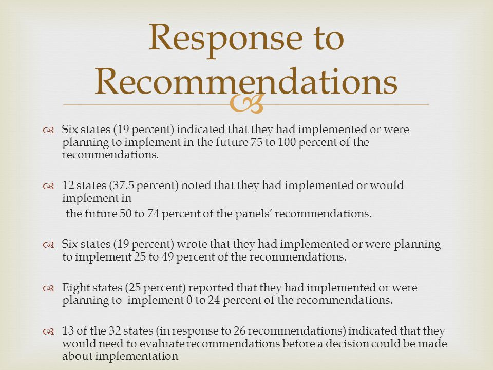 Six states (19 percent) indicated that they had implemented or were planning to implement in the future 75 to 100 percent of the recommendations.