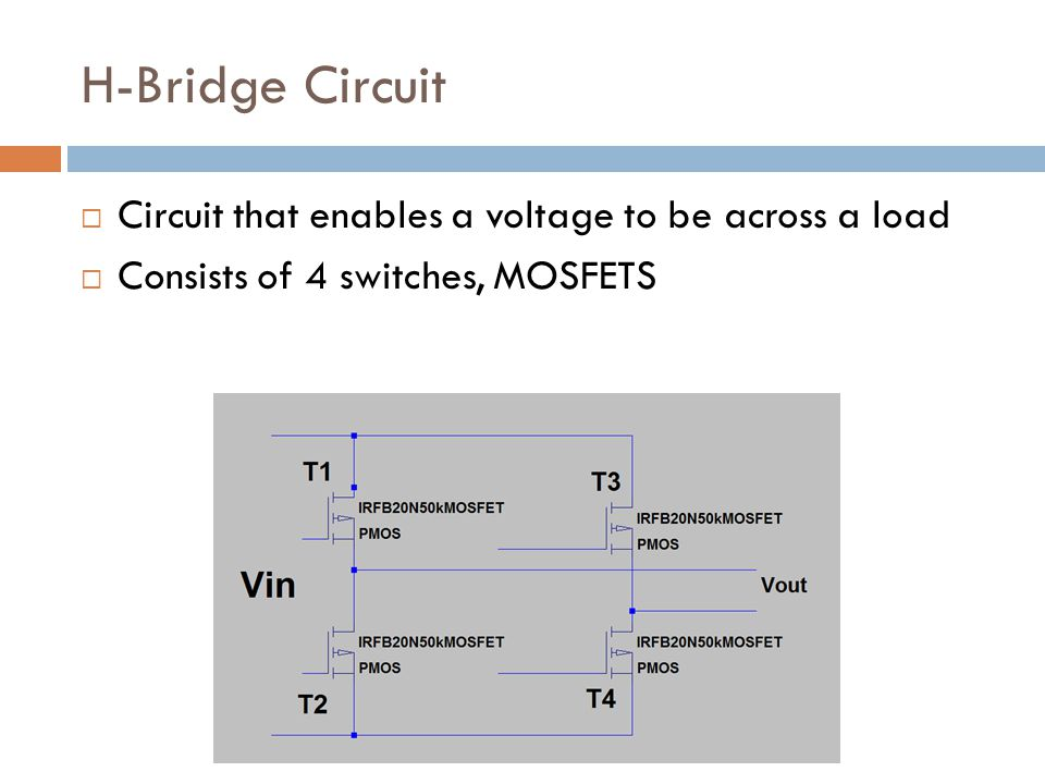 H-Bridge Circuit Circuit that enables a voltage to be across a load Consists of 4 switches, MOSFETS