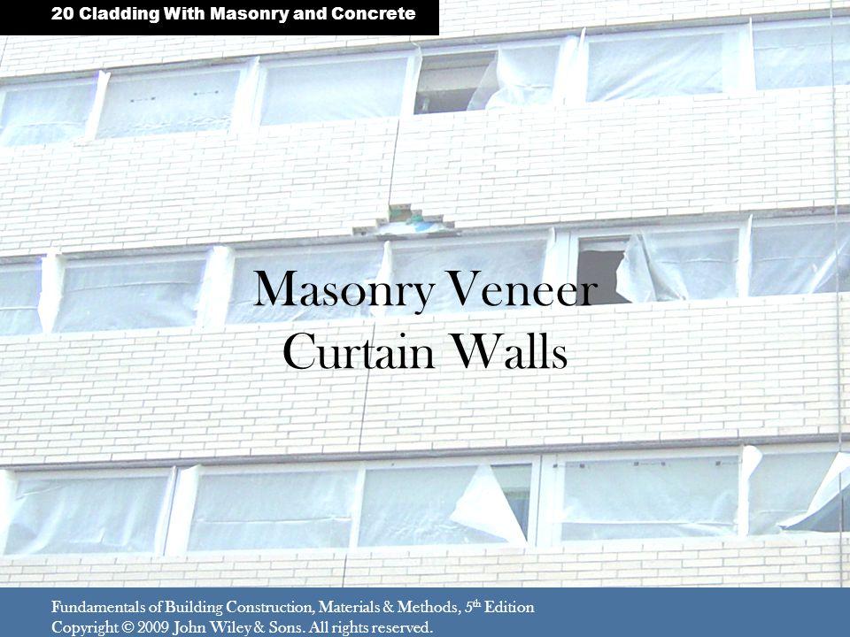 Masonry Veneer Curtain Walls Fundamentals of Building Construction, Materials & Methods, 5 th Edition Copyright © 2009 John Wiley & Sons.