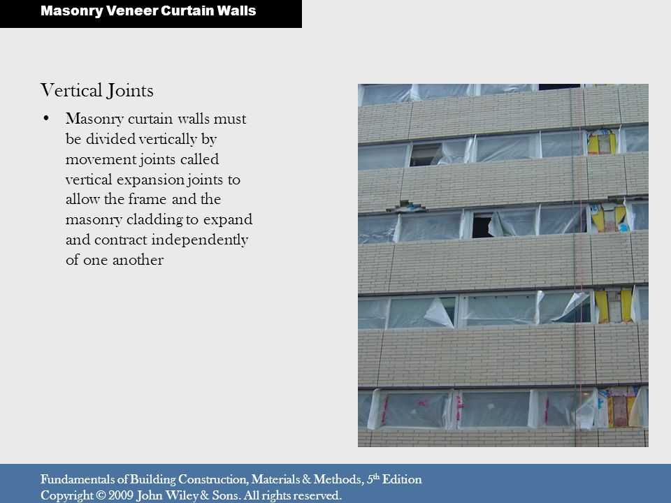 Vertical Joints Masonry curtain walls must be divided vertically by movement joints called vertical expansion joints to allow the frame and the masonr