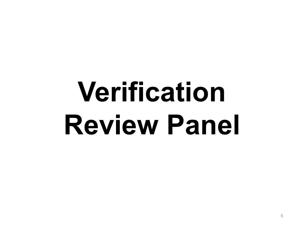 6 Verification Review Panel