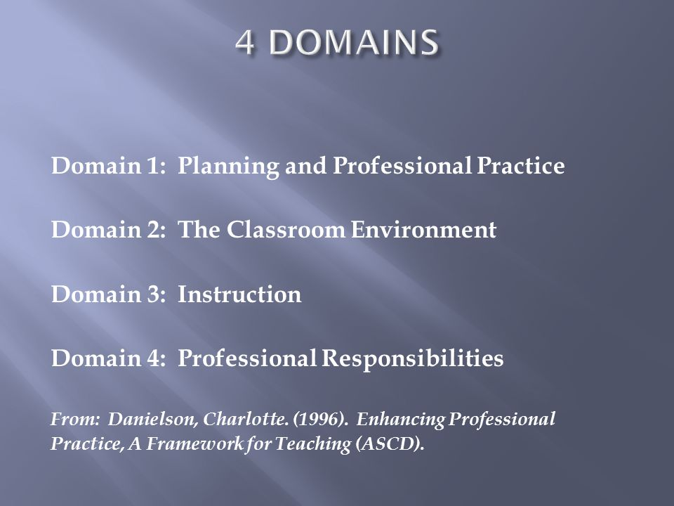 Domain 1: Planning and Professional Practice Domain 2: The Classroom Environment Domain 3: Instruction Domain 4: Professional Responsibilities From: D