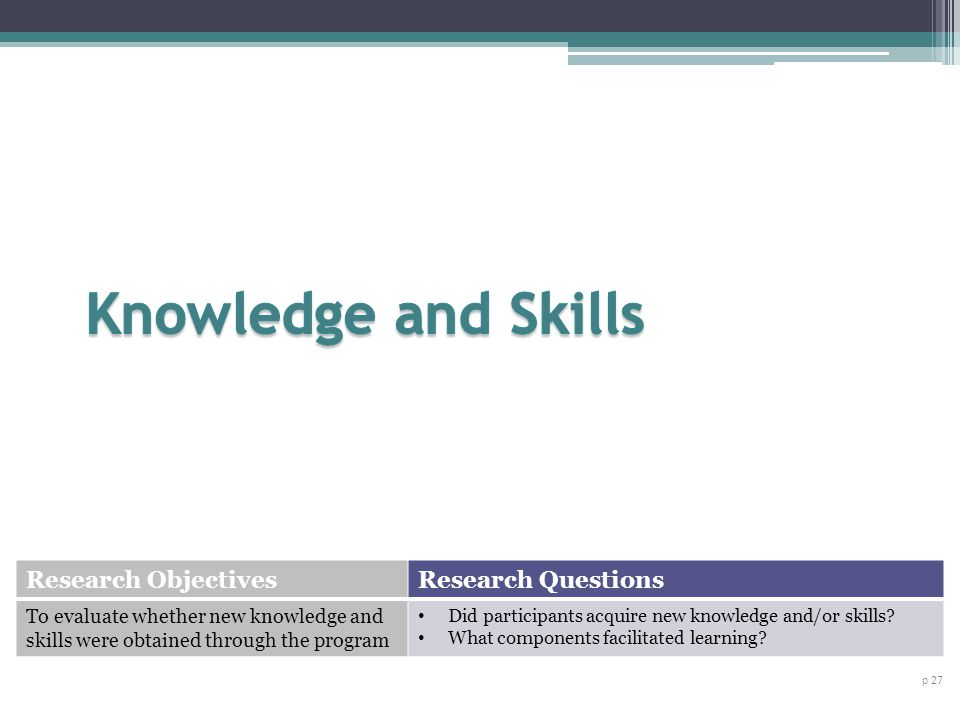 p 27 Research ObjectivesResearch Questions To evaluate whether new knowledge and skills were obtained through the program Did participants acquire new knowledge and/or skills.