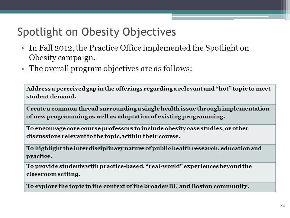 Spotlight on Obesity Objectives p 8 In Fall 2012, the Practice Office implemented the Spotlight on Obesity campaign.