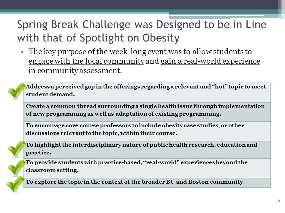 Spring Break Challenge was Designed to be in Line with that of Spotlight on Obesity p 9 The key purpose of the week-long event was to allow students to engage with the local community and gain a real-world experience in community assessment.