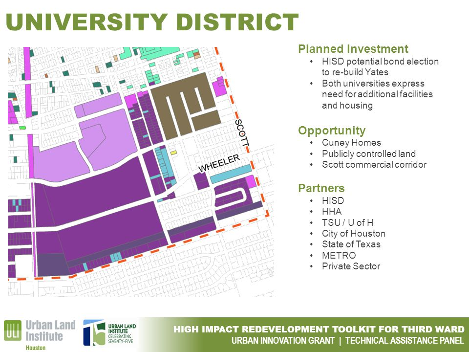 HIGH IMPACT REDEVELOPMENT TOOLKIT FOR THIRD WARD URBAN INNOVATION GRANT | TECHNICAL ASSISTANCE PANEL UNIVERSITY DISTRICT Planned Investment HISD poten