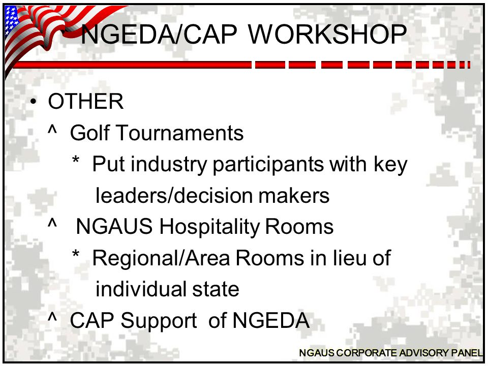 NGAUS CORPORATE ADVISORY PANEL NGEDA/CAP WORKSHOP QUESTIONS???