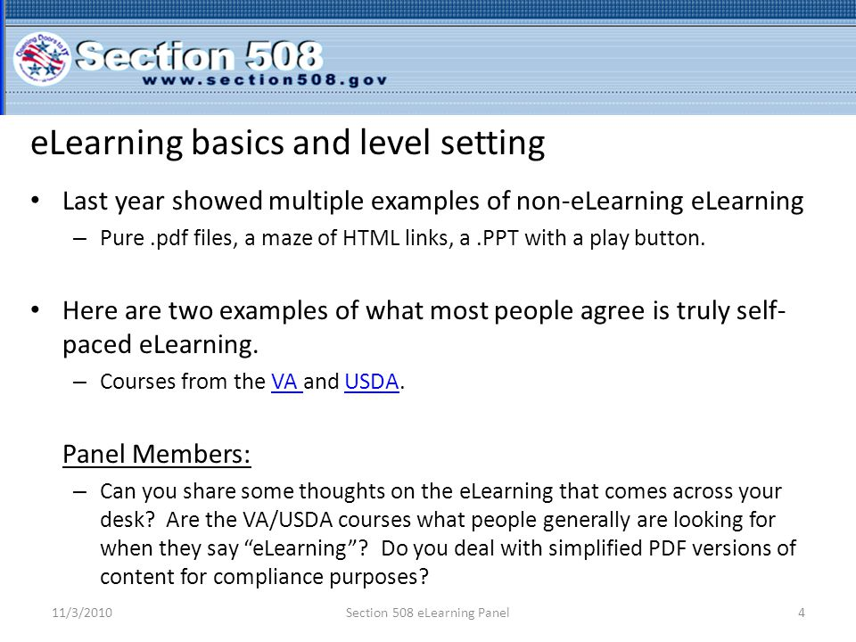 Audience Thoughts.eLearning experience. o Expert.