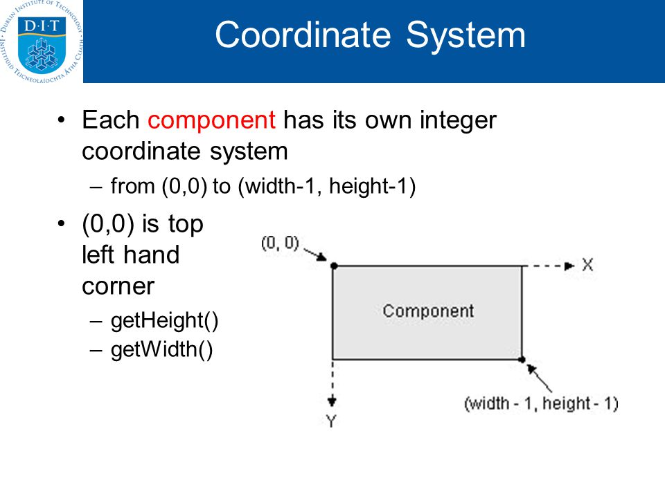 Coordinate System Each component has its own integer coordinate system –from (0,0) to (width-1, height-1) (0,0) is top left hand corner –getHeight() –getWidth()