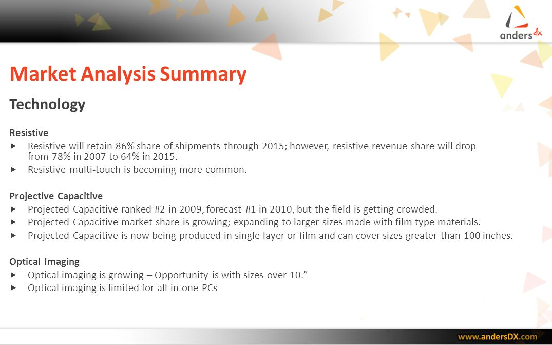 Market Analysis Summary Applications Touch penetration in mobile phones is more than 30% and growing.