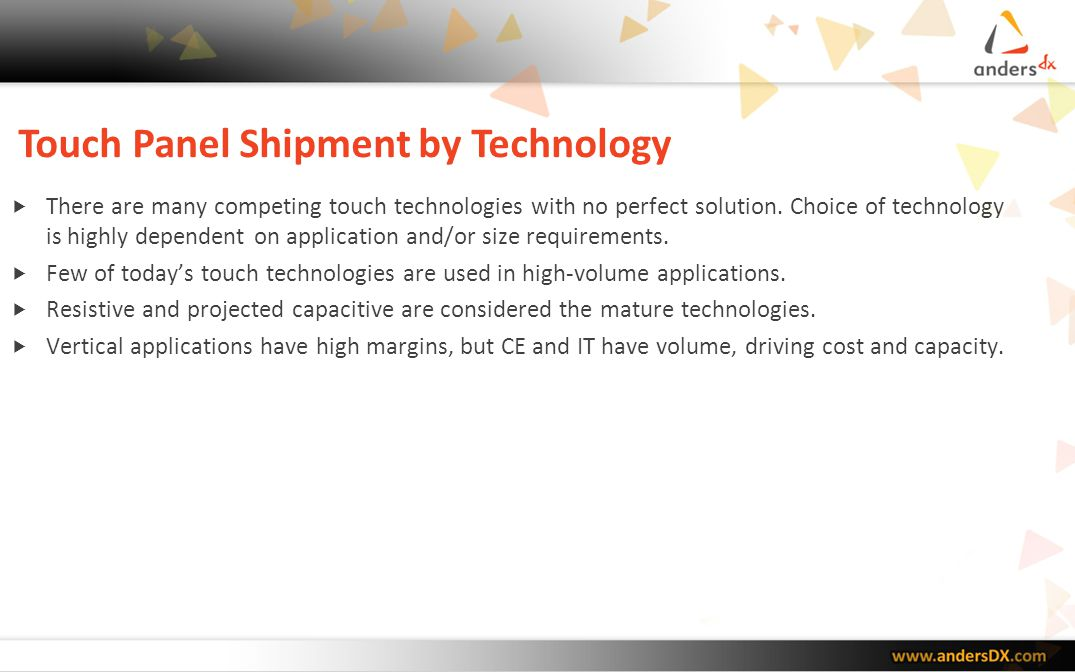 Touch Technologies Source: DisplaySearch 2010 Touch Panel Market Analysis Report