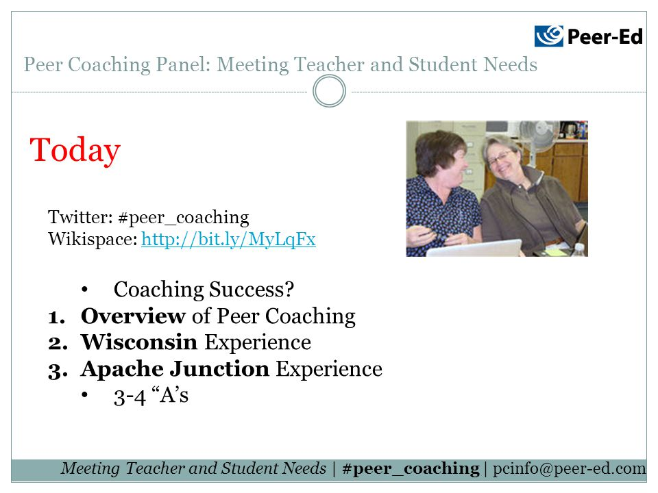 Today Twitter: #peer_coaching Wikispace:   Coaching Success.