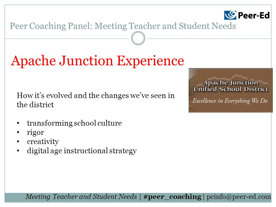 Meeting Teacher and Student Needs | #peer_coaching | Apache Junction Experience Peer Coaching Panel: Meeting Teacher and Student Needs How its evolved and the changes weve seen in the district transforming school culture rigor creativity digital age instructional strategy