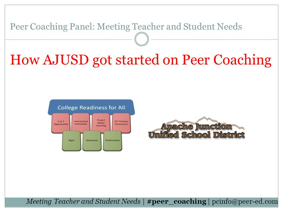 Meeting Teacher and Student Needs | #peer_coaching | Peer Coaching Panel: Meeting Teacher and Student Needs How AJUSD got started on Peer Coaching Peer Coaching Panel: Meeting Teacher and Student Needs