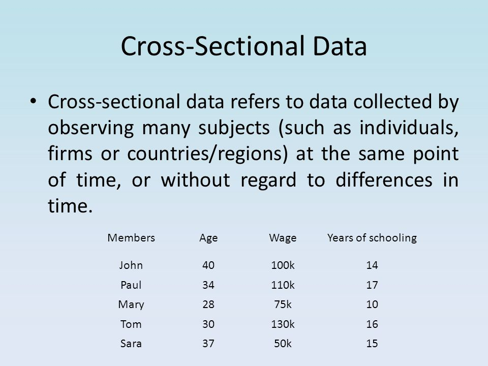 Cross-Sectional Data Cross-sectional data refers to data collected by observing many subjects (such as individuals, firms or countries/regions) at the same point of time, or without regard to differences in time.