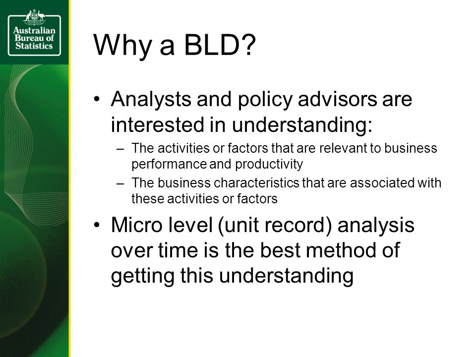 Why a BLD? Analysts and policy advisors are interested in understanding: –The activities or factors that are relevant to business performance and prod