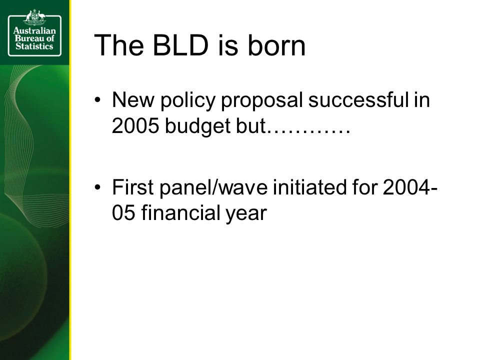 The BLD is born New policy proposal successful in 2005 budget but………… First panel/wave initiated for financial year