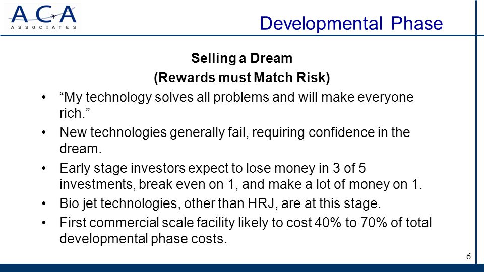 Developmental Phase Selling a Dream (Rewards must Match Risk) My technology solves all problems and will make everyone rich.