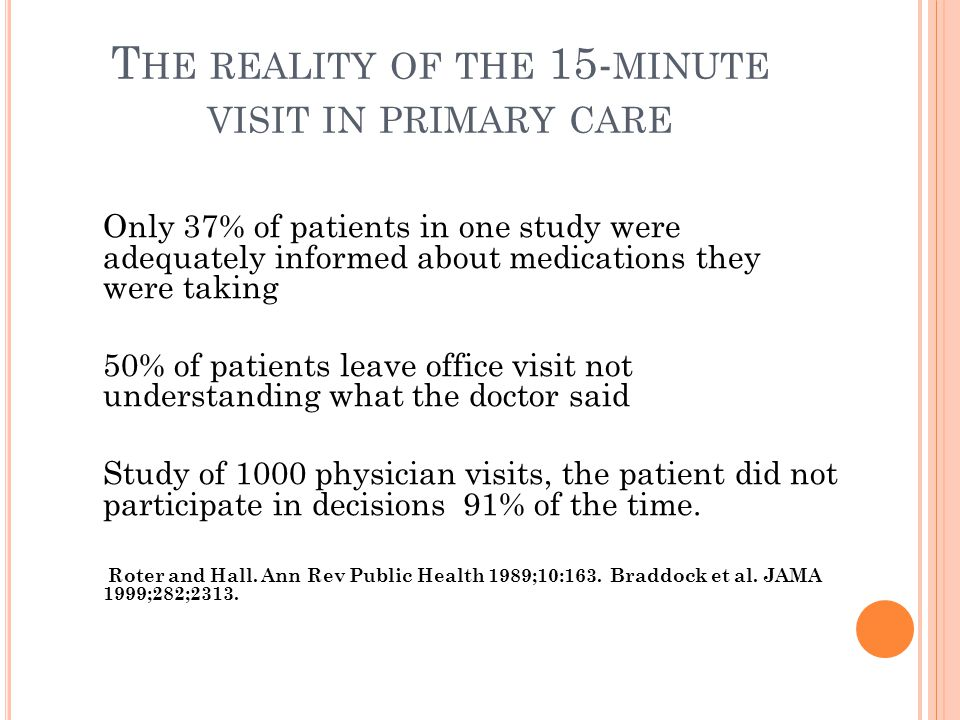 T HE REALITY OF THE 15- MINUTE VISIT IN PRIMARY CARE Only 37% of patients in one study were adequately informed about medications they were taking 50% of patients leave office visit not understanding what the doctor said Study of 1000 physician visits, the patient did not participate in decisions 91% of the time.