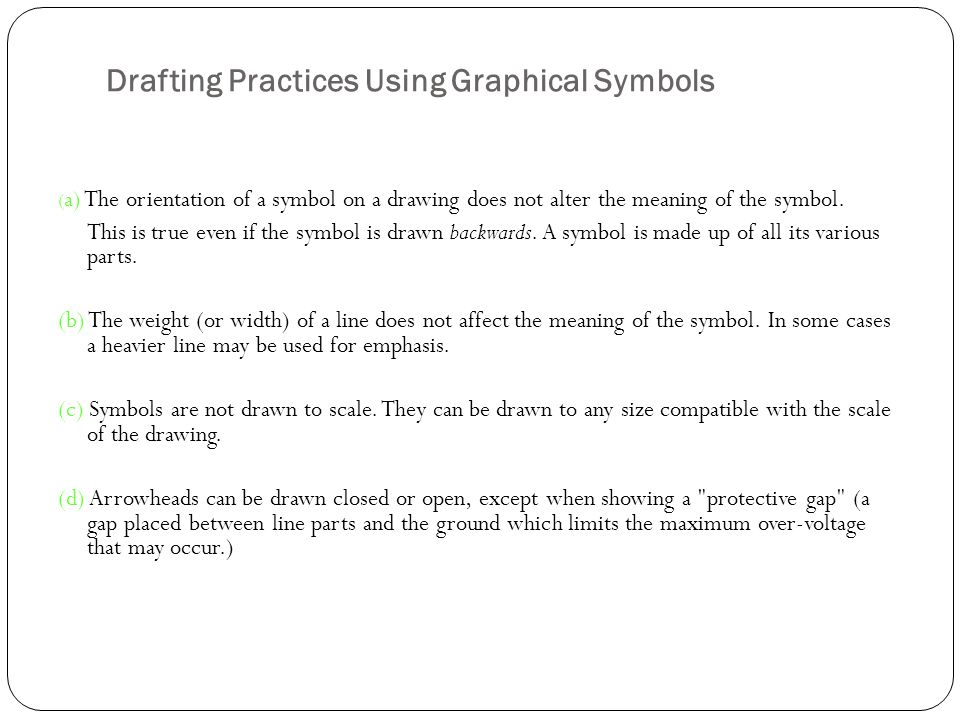 Drafting Practices Using Graphical Symbols ( a) The orientation of a symbol on a drawing does not alter the meaning of the symbol. This is true even i