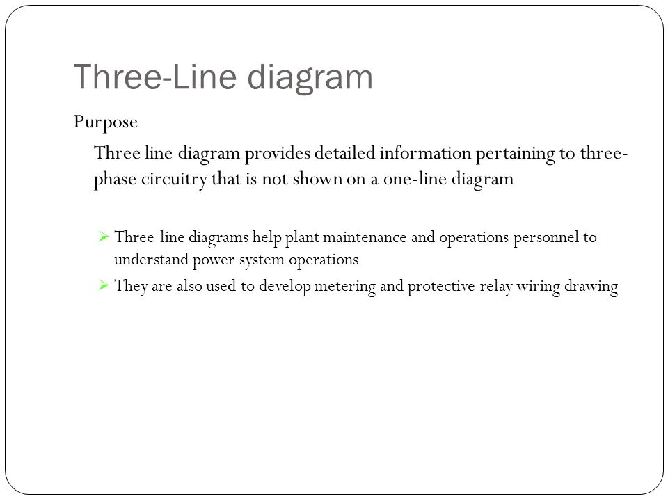 Three-Line diagram Purpose Three line diagram provides detailed information pertaining to three- phase circuitry that is not shown on a one-line diagr