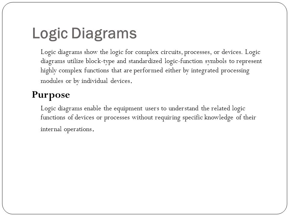 Logic Diagrams Logic diagrams show the logic for complex circuits, processes, or devices. Logic diagrams utilize block-type and standardized logic-fun