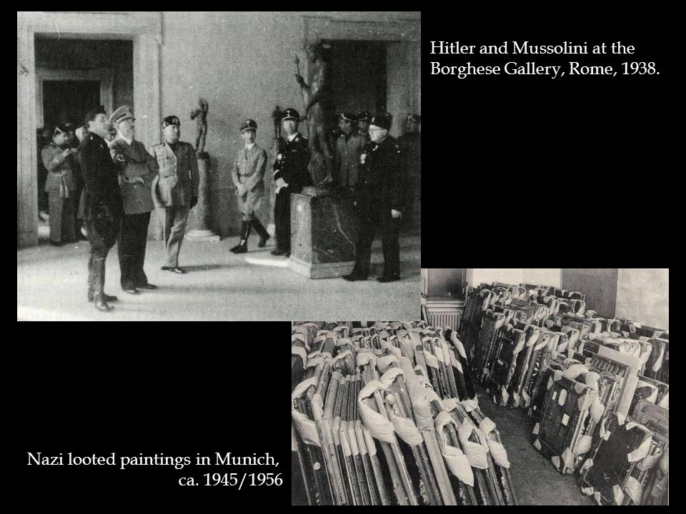 Hitler and Mussolini at the Borghese Gallery, Rome, 1938. Nazi looted paintings in Munich, ca. 1945/1956