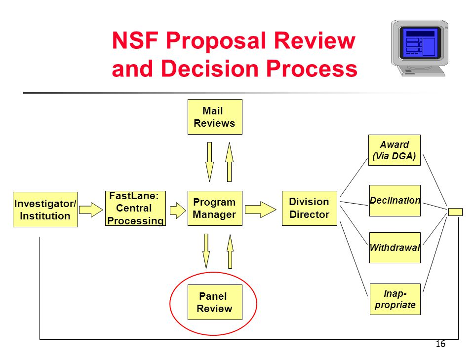 16 NSF Proposal Review and Decision Process Investigator/ Institution FastLane: Central Processing Program Manager Division Director Declination Award (Via DGA) Withdrawal Mail Reviews Panel Review Inap- propriate