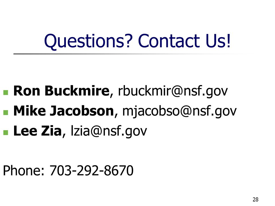 28 Questions. Contact Us.