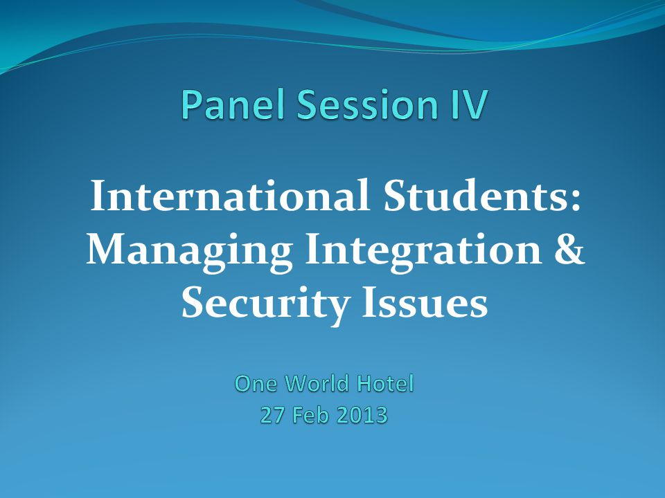 International Students: Managing Integration & Security Issues