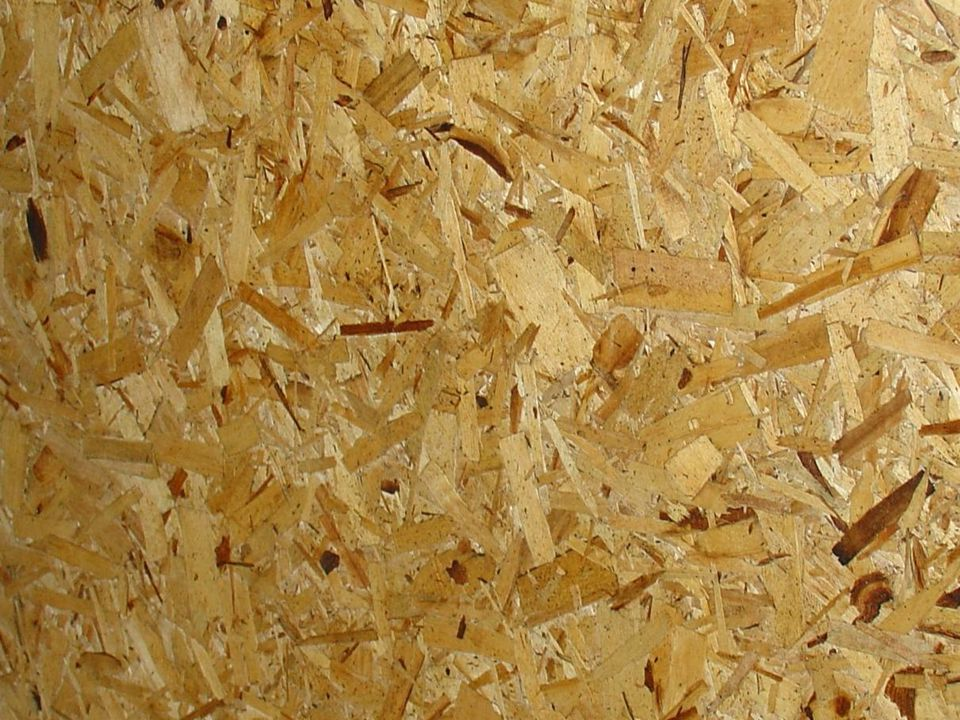 Commonly referred to as OSB Engineered wood product consisting of strips of wood arranged in crisscrossing layers, pressed and bound with an adhesive and made into panels