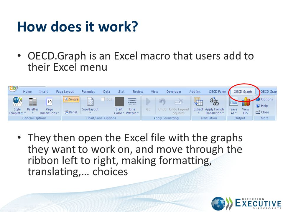 How does it work? OECD.Graph is an Excel macro that users add to their Excel menu They then open the Excel file with the graphs they want to work on,