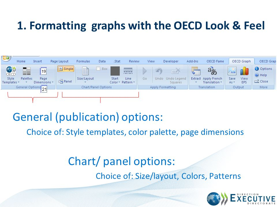 1. Formatting graphs with the OECD Look & Feel General (publication) options: Choice of: Style templates, color palette, page dimensions Chart/ panel