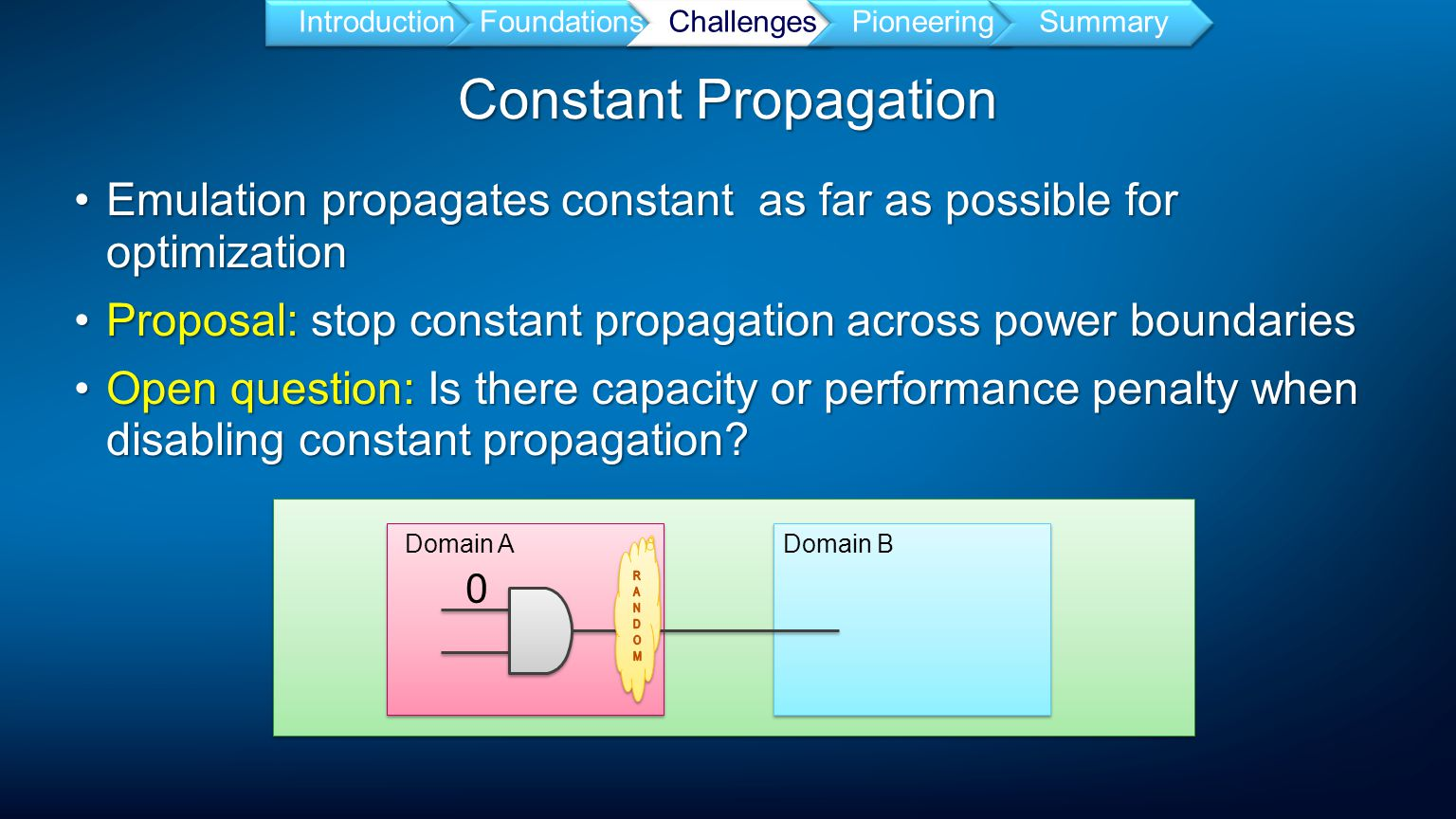 Constant Propagation Emulation propagates constant as far as possible for optimizationEmulation propagates constant as far as possible for optimization Proposal: stop constant propagation across power boundariesProposal: stop constant propagation across power boundaries Open question: Is there capacity or performance penalty when disabling constant propagation Open question: Is there capacity or performance penalty when disabling constant propagation.