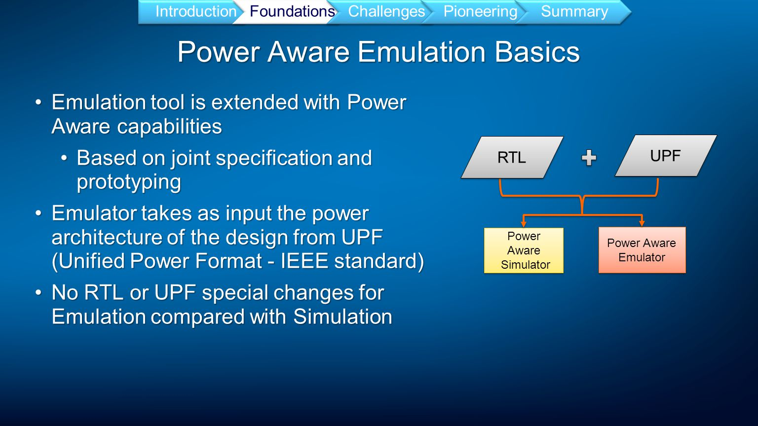 Power Aware Emulation Basics IntroductionFoundationsChallengesPioneeringSummary Emulation tool is extended with Power Aware capabilitiesEmulation tool is extended with Power Aware capabilities Based on joint specification and prototypingBased on joint specification and prototyping Emulator takes as input the power architecture of the design from UPF (Unified Power Format - IEEE standard)Emulator takes as input the power architecture of the design from UPF (Unified Power Format - IEEE standard) No RTL or UPF special changes for Emulation compared with SimulationNo RTL or UPF special changes for Emulation compared with Simulation UPF Power Aware Simulator Power Aware Simulator Power Aware Emulator Power Aware Emulator RTL