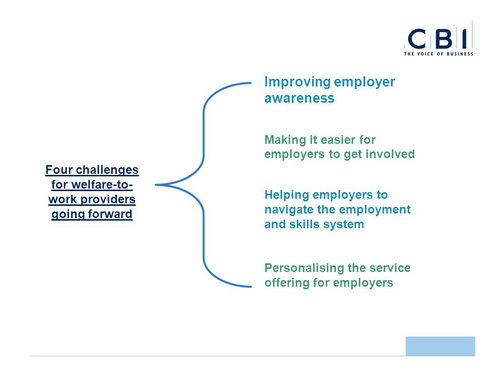 Improving employer awareness Making it easier for employers to get involved Helping employers to navigate the employment and skills system Personalising the service offering for employers Four challenges for welfare-to- work providers going forward