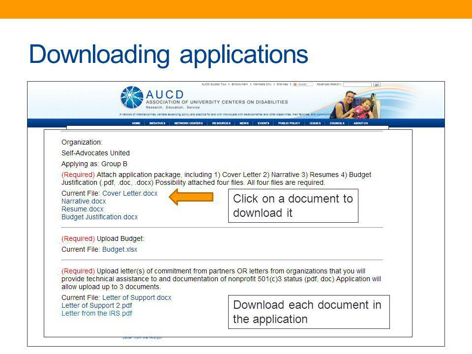 Downloading applications Click on a document to download it Download each document in the application