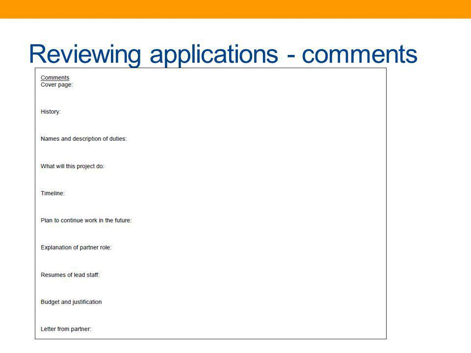 Reviewing applications - comments