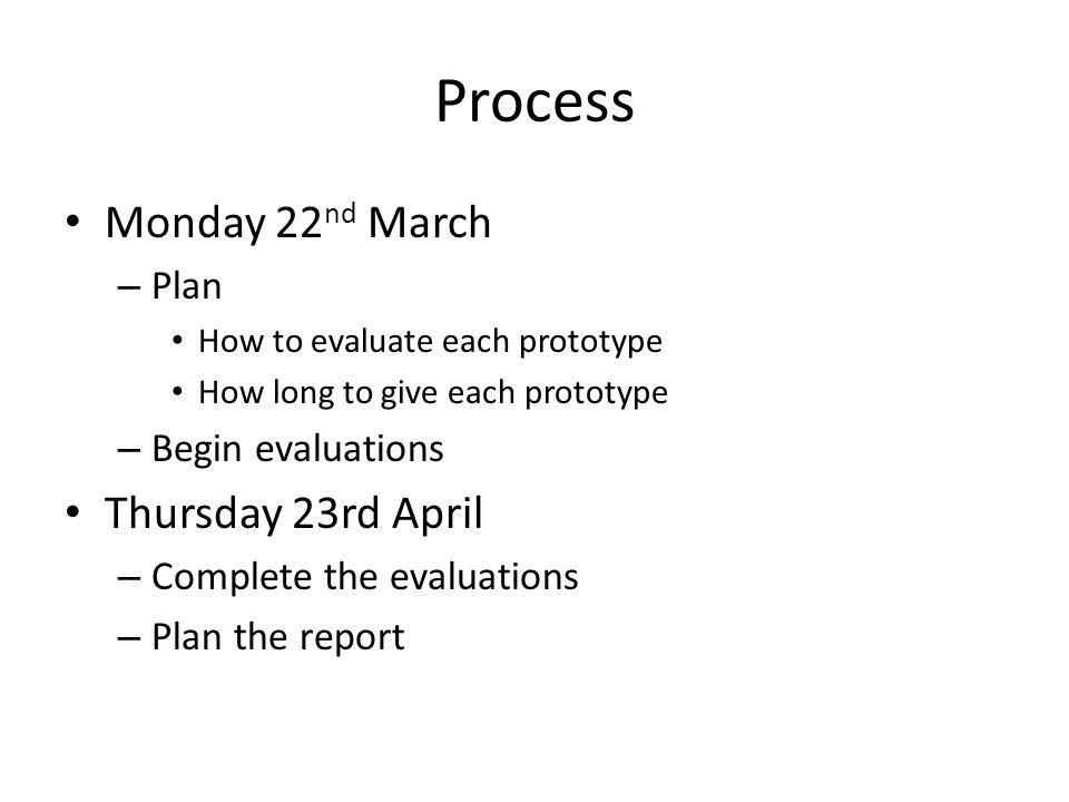 Process Monday 22 nd March – Plan How to evaluate each prototype How long to give each prototype – Begin evaluations Thursday 23rd April – Complete th
