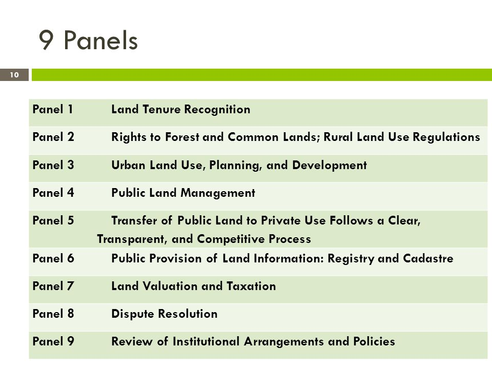 9 Panels Panel 1 Land Tenure Recognition Panel 2 Rights to Forest and Common Lands; Rural Land Use Regulations Panel 3 Urban Land Use, Planning, and Development Panel 4 Public Land Management Panel 5 Transfer of Public Land to Private Use Follows a Clear, Transparent, and Competitive Process Panel 6 Public Provision of Land Information: Registry and Cadastre Panel 7 Land Valuation and Taxation Panel 8 Dispute Resolution Panel 9 Review of Institutional Arrangements and Policies 10