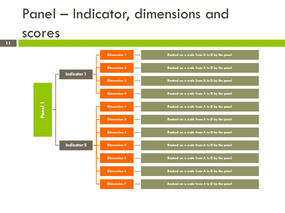 Panel – Indicator, dimensions and scores Panel 1 Indicator 1 Dimension 1Ranked on a scale from A to D by the panel Dimension 2Ranked on a scale from A to D by the panel Dimension 3Ranked on a scale from A to D by the panel Dimension 4Ranked on a scale from A to D by the panel Indicator 2 Dimension 1Ranked on a scale from A to D by the panel Dimension 2Ranked on a scale from A to D by the panel Dimension 3Ranked on a scale from A to D by the panel Dimension 4Ranked on a scale from A to D by the panel Dimension 5Ranked on a scale from A to D by the panel Dimension 6Ranked on a scale from A to D by the panel Dimension 7Ranked on a scale from A to D by the panel 11